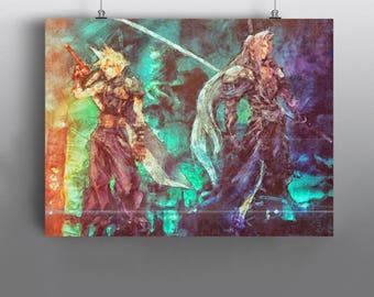 Cloud vs Sephiroth - Final Fantasy VII - Art Print, Square Enix, Playstation Classic, Shinra, mixed media Watercolor Print, Poster, No263