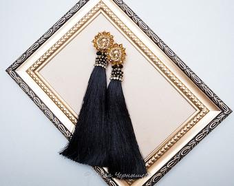 Party earrings Black tassel Black earrings All black Tassel earrings Idea for her Embroidery earrings Earrings tassel black Oscar earrings