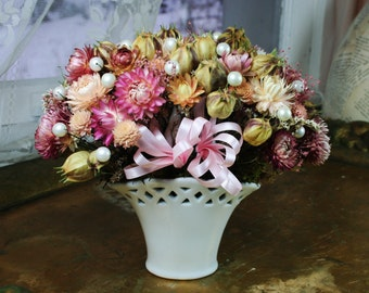 Handmade SHABBY CHIC Dried Flower Arrangement with Pearls in Ceramic Basket