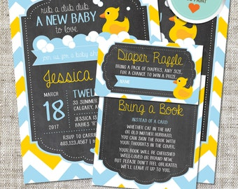 Rubber Duck Baby Shower Invitation, Rubber Duck Invitation, Rubber Duck, Yellow, Blue, Chevron | DIY