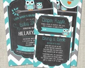 Owl Baby Shower Invitation, Owl Invitation, Owl, Teal, Gray, Chevron, Branch | DIY