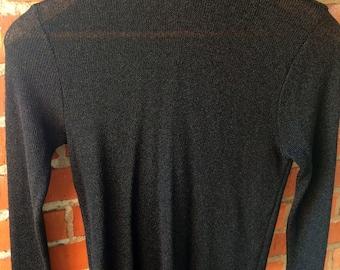 Ladies/vintage/black/ribbed/mock turtleneck/long sleeve/sheer/trend/hot/England/1960s/European/stretchy/medium/small/mod