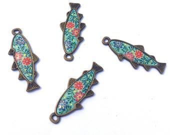 Teal Koi Fish Charm, Resin Koi Fish Charm, Japanese Fish Charm, Koi Fish Pendant 4pcs