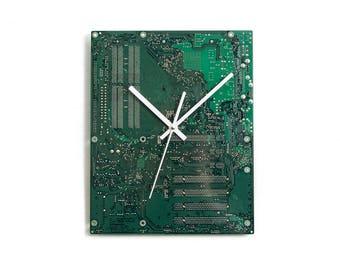 Large Green Wall Clock, Motherboard Wall Clock, Industrial Wall Clock, Electrician Gift, Tech Gift, Unique Wall Clock, Geek Gift, Wall Clock