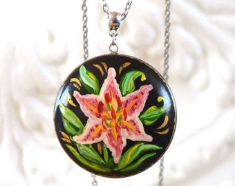 Unique gift|for|sister gift mom gift|for|wife statement necklace ethnic necklace delicate Jewelry Lily flower nature inspired Oil painting