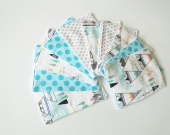 """Set of 10 wipes washable cotton and sponge """"indian"""""""