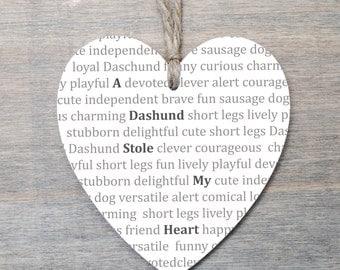 Wooden Heart Daschund Sausage Dog Gift - Hanging Wooden Heart - Dog lover gift