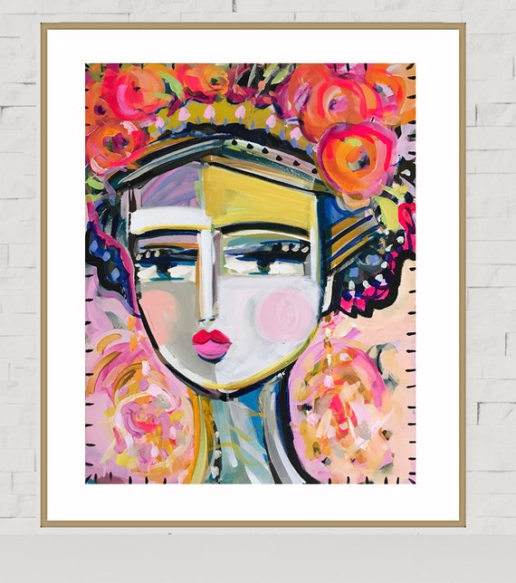 Warrior Girl PRINT, abstract faces, Maren Devine, large art, Maria