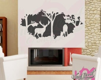 Wall Decal, Deer In Woods Wall Decal, Large Wall Decal, Deer Wall Mural