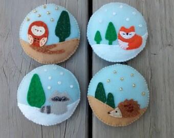 Woodland Animals Felt Ornaments / Owl, Fox, Raccoon, Hedgehog / Christmas Ornament / Handmade