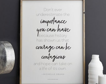 Printable Michelle Obama quote Courage Can Be Contagious Download 8.5 x 11