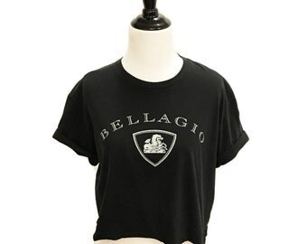 Bellagio Las Vegas Cropped Black Tee Size Medium