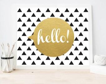 Black And Gold Wall Art geometric wall art black white and gold room decor modern