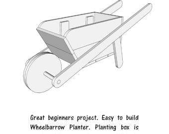 Wheelbarrow Planter     - wood plans - PDF File - woodworking - blueprints