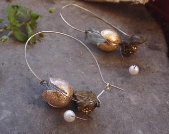 Dangle Earrings,Silver Earrings,Gold Earrings,Gold Silver 925,Silver Jewelry,Hammered,Crystal Earrings,Birthday Gift,Elegant Earrings,Unique