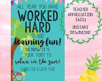Teacher Appreciation Tags! - Instant Download