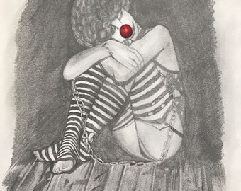 Clown in pencil sketch - Print