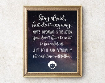 Carrie Fisher Art Quote Print, 8x10 Princess Leia INSTANT DOWNLOAD