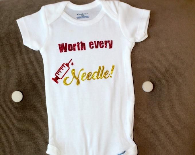 Worth Every Needle New Baby Onesie | Baby Girl Onesie | Baby Girl BodySuit | Baby Boy Onesie | Baby Boy BodySuit