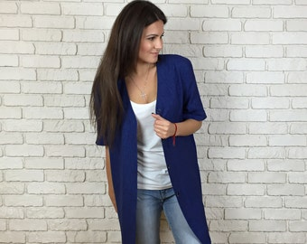 "90s Blue Cardigan -  Size 36/  - Brand ""ARA""  -Vintage Blue Jacket - Women's Jacket"