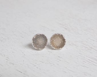 Druzy Earrings, Druzy Stud Earrings, Gray Gemstone Earrings, Sparkly Druzy Studs, Drussy, Small Stone Posts, Silver Raw Stone, Gift, G4-120