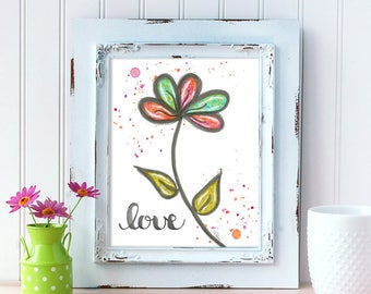 Love Art Print. Watercolor Daisy Art Print. Home Decor. 8x10 Wall Art. Mother's Day Gift. Gift for Best Friend. Gift for Mom. Gift for Her.