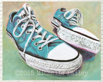 Art print | Converse  All Star Sneakers | Turquoise Blue | 8x10 or 11x14 matted print