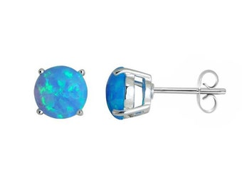 Laguna Blue Fire Gilson Opal Round Claw 925 Solid Silver Stud Earrings