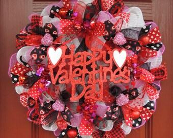 Happy Valentine's day Wreath, Valentine Wreath, Deco mesh Valentines wreath, Door Hanger, Valentine Decor