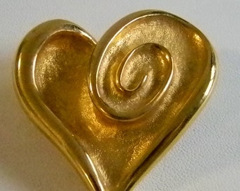 Large Brushed Gold Tobe Heart Pin Brooch
