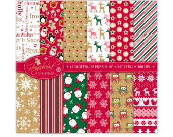 Christmas Digital Paper,Christmas Scrapbook Papers,Santa Papers,Reindeer Papers,Holiday Papers,Scrapbooking,Christmas Backgrounds,Commercial