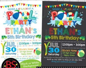 POOL PARTY Invitation, Chalkboard Pool Party Birthday invitation, Pool Party invite, Swim Party invitation