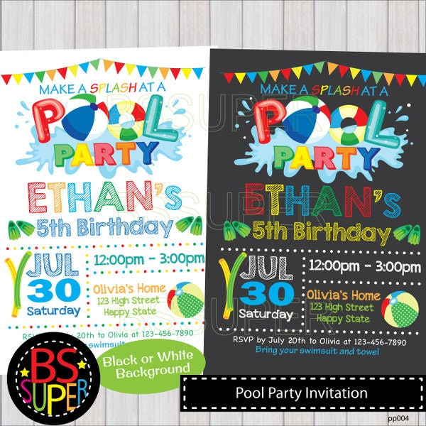 Pool party invite – Winter Pool Party Invitations