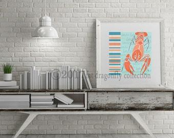Elegant Nautical Lobster Art Print. Coastal Lobster Poster. Coastal Kitchen Decor.  Lobster Wall Decor