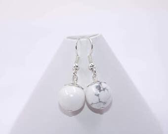 Bohemian Earrings // White Howlite Earrings // Boho Earrings // White Stone Earrings // Dangle Earrings // Womens Earrings