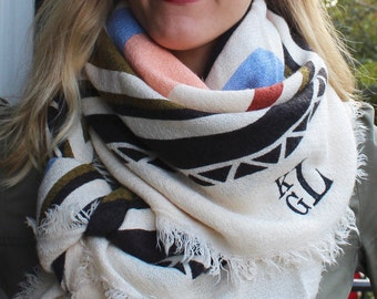 Blanket Scarf - Colorful Geometric/Boho Pattern