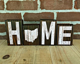 Ohio Home Blocks - White | Rustic Wooden Letter Blocks | Wooden Home Decor | Housewarming | Birthday | Gift Under 20  | Ohio Decor