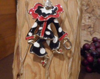 Stunning Vintage Estate Gold Tone Articulated  Clown  Red Black Brooch!!! 21.8 Grams