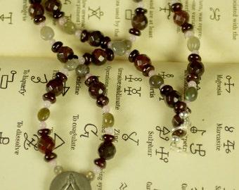 Charged Fertility Goddess Necklace with Garnet, Labradorite, Jasper & Rose Quartz - Pagan, Wicca, Witchcraft