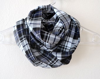 Cotton Plaid Infinity Scarf in White Black Grey Color, Summer Fashion, Women Accessories, Spring, Fall