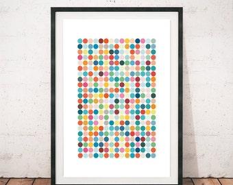 Dots print, Polka dots print, Dots poster, Retro print, Home decor, Wall print, Colorful print, Minimalist art, Scandinavian prints