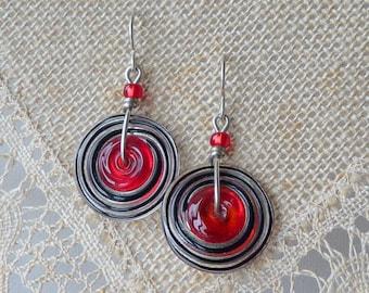 Sterling Silver Dangle Earrings Red Candy Eye Glass Round Earrings Retro Shield 925 Silver, Red Round Swirl Earrings,Modern Pierced Vintage