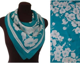 Summer Floral Head Scarf, Retro Turquoise Head Scarf, White Floral Pattern Square Scarf, Made in Italy