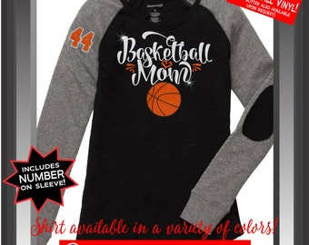Basketball Mom BASKETBALL VINYL and GLITTER Vinyl Tee with Custom Number(s), Custom Basketball Mom Bling Long Sleeve Tee with Elbow Patch