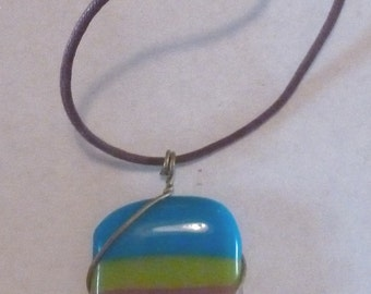 Glass Art Sale - Japanese Satake Glass Fused Pendant Necklace with 6 Extra Fused Pendants!