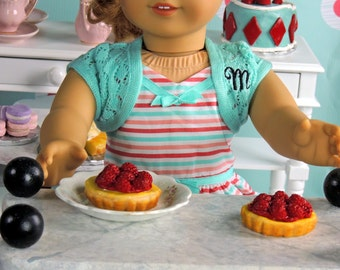Raspberry Tart Pie Fake Food for American Girl Dolls Miniature Doll House fake food 1:3 scale for AG Dolls