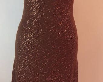 Fab vintage sparkly brown & gold disco dress with an asymmetrical hem, 1970s. UK size 6, US 4, EU 34.