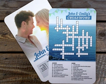 Custom Printable Wedding Crossword Puzzle - A fun game for your wedding day. Beach Wedding favors & unique decor. Digital PDF file only.
