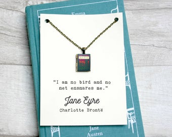 """Jane Eyre Book Locket Charm by Charlotte Bronte Quote Literary Jewelry Jewellery Necklace """"I am no bird and no net ensnares me"""""""