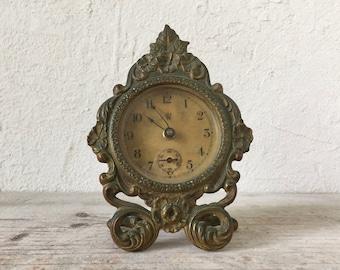 Antique Waterbury Desk Clock, Brass Wind Up Clock, 1890, 19th Century